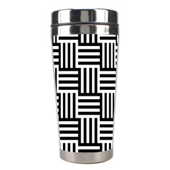 Black And White Basket Weave Stainless Steel Travel Tumblers