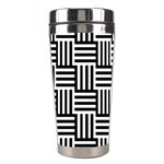 Black And White Basket Weave Stainless Steel Travel Tumblers Left