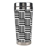 Black And White Basket Weave Stainless Steel Travel Tumblers Right