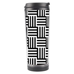 Black And White Basket Weave Travel Tumbler