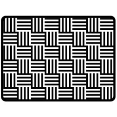 Black And White Basket Weave Double Sided Fleece Blanket (Large)