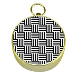 Black And White Basket Weave Gold Compasses