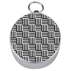Black And White Basket Weave Silver Compasses
