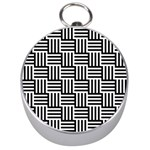 Black And White Basket Weave Silver Compasses Front