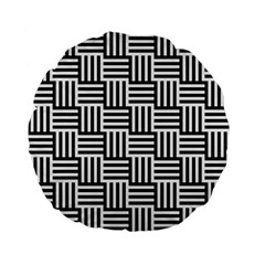 Black And White Basket Weave Standard 15  Premium Flano Round Cushions