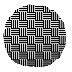 Black And White Basket Weave Large 18  Premium Flano Round Cushions