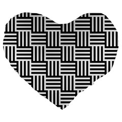 Black And White Basket Weave Large 19  Premium Flano Heart Shape Cushions