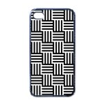 Black And White Basket Weave Apple iPhone 4 Case (Black) Front