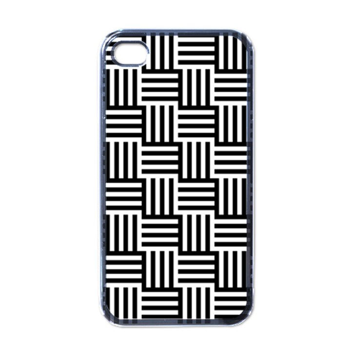 Black And White Basket Weave Apple iPhone 4 Case (Black)