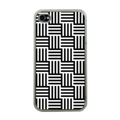 Black And White Basket Weave Apple iPhone 4 Case (Clear)