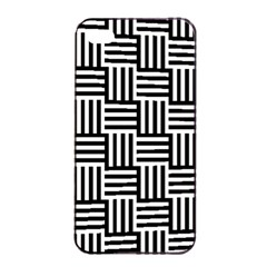 Black And White Basket Weave Apple iPhone 4/4s Seamless Case (Black)
