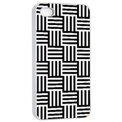Black And White Basket Weave Apple iPhone 4/4s Seamless Case (White)