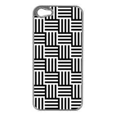 Black And White Basket Weave Apple iPhone 5 Case (Silver)
