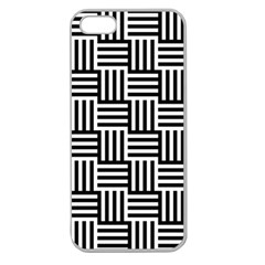 Black And White Basket Weave Apple Seamless iPhone 5 Case (Clear)