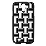 Black And White Basket Weave Samsung Galaxy S4 I9500/ I9505 Case (Black) Front