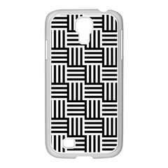 Black And White Basket Weave Samsung GALAXY S4 I9500/ I9505 Case (White)