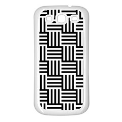 Black And White Basket Weave Samsung Galaxy S3 Back Case (White)