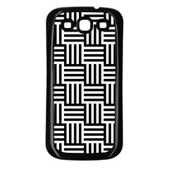 Black And White Basket Weave Samsung Galaxy S3 Back Case (Black)