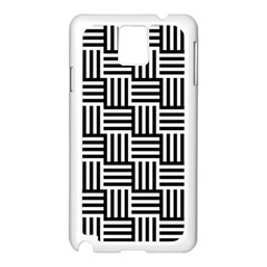 Black And White Basket Weave Samsung Galaxy Note 3 N9005 Case (White)