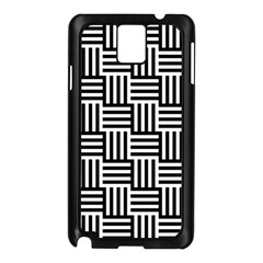 Black And White Basket Weave Samsung Galaxy Note 3 N9005 Case (Black)