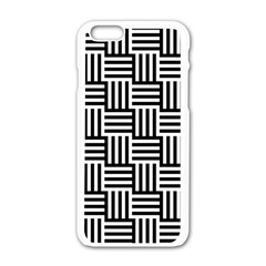 Black And White Basket Weave Apple iPhone 6/6S White Enamel Case