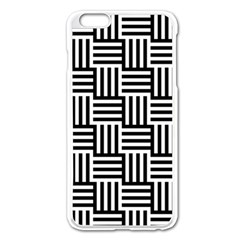 Black And White Basket Weave Apple iPhone 6 Plus/6S Plus Enamel White Case