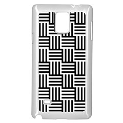 Black And White Basket Weave Samsung Galaxy Note 4 Case (White)