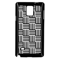 Black And White Basket Weave Samsung Galaxy Note 4 Case (Black)