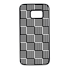 Black And White Basket Weave Samsung Galaxy S7 Black Seamless Case