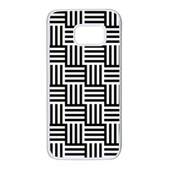 Black And White Basket Weave Samsung Galaxy S7 White Seamless Case