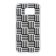Black And White Basket Weave Samsung Galaxy S7 edge White Seamless Case