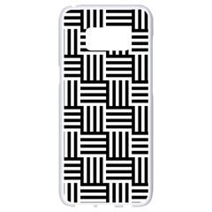 Black And White Basket Weave Samsung Galaxy S8 White Seamless Case