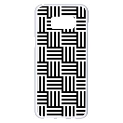 Black And White Basket Weave Samsung Galaxy S8 Plus White Seamless Case