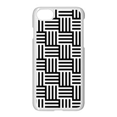 Black And White Basket Weave Apple iPhone 8 Seamless Case (White)