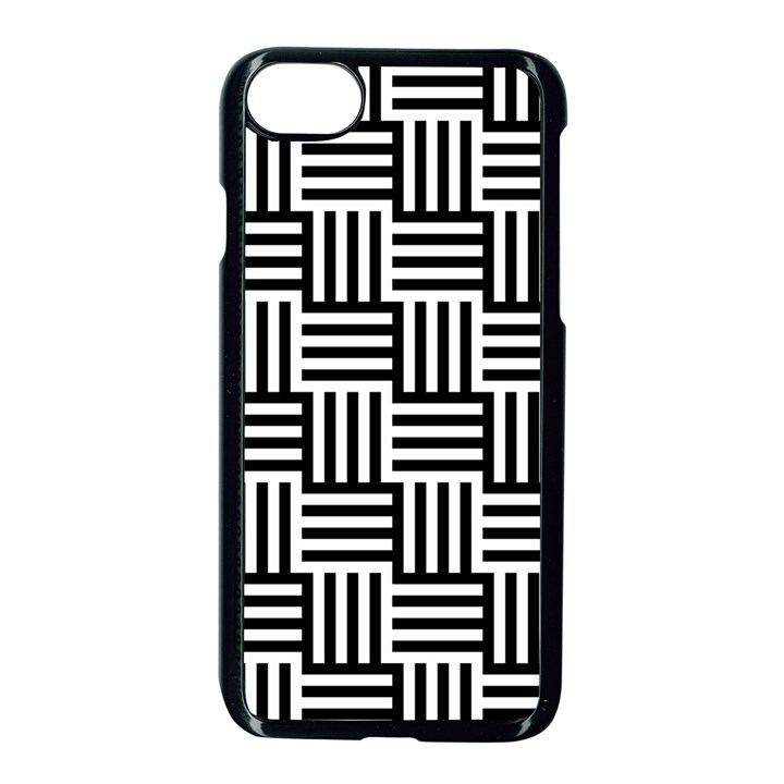 Black And White Basket Weave Apple iPhone 8 Seamless Case (Black)