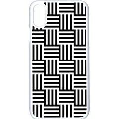 Black And White Basket Weave Apple iPhone X Seamless Case (White)