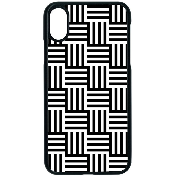 Black And White Basket Weave Apple iPhone X Seamless Case (Black)