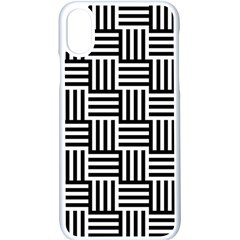 Black And White Basket Weave Apple iPhone XS Seamless Case (White)