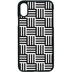 Black And White Basket Weave Apple iPhone XS Seamless Case (Black)