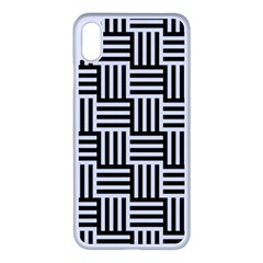 Black And White Basket Weave Apple iPhone XS Max Seamless Case (White)