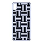 Black And White Basket Weave Apple iPhone XS Max Seamless Case (White) Front