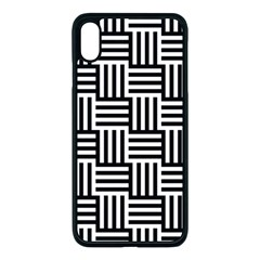 Black And White Basket Weave Apple iPhone XS Max Seamless Case (Black)
