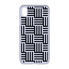Black And White Basket Weave Apple iPhone XR Seamless Case (White)