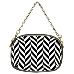 Black And White Herringbone Chain Purse (two Sides) by retrotoomoderndesigns