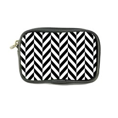 Black And White Herringbone Coin Purse by retrotoomoderndesigns