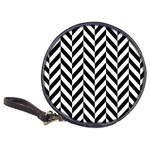 Black And White Herringbone Classic 20-CD Wallets Front