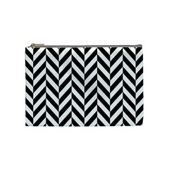 Black And White Herringbone Cosmetic Bag (medium)