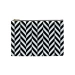 Black And White Herringbone Cosmetic Bag (Medium) Front