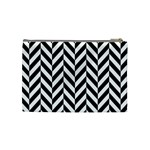 Black And White Herringbone Cosmetic Bag (Medium) Back
