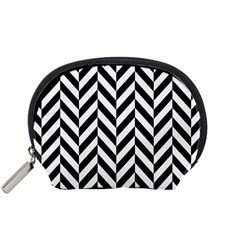 Black And White Herringbone Accessory Pouch (small) by retrotoomoderndesigns